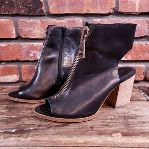 ALDO Black Leather Peep Toe Booties Front Zip Heel